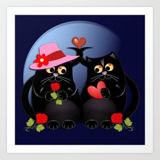 Cats in Love Art Print