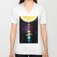 milky way V-neck T-shirts featuring Milky Way All the way by Eric Holopainen