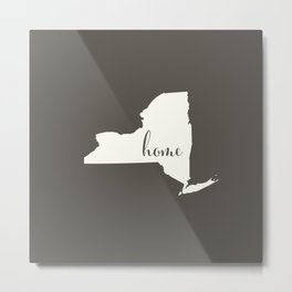 New York is Home - White on Charcoal Metal Print
