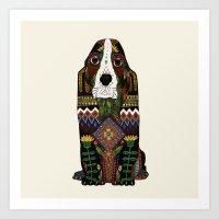 the hound Art Prints featuring Basset Hound by Sharon Turner