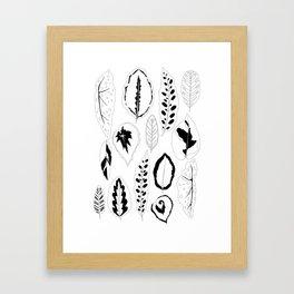 Jungle Leaves in Black and White Framed Art Print