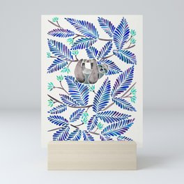 Happy Sloth – Tropical Blue Leaves Mini Art Print