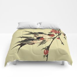 Moon Swallows and Peach Blossoms Comforters