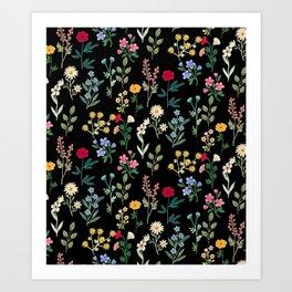 Spring Botanicals Black Art Print