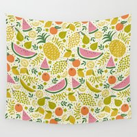 fruit Wall Tapestries featuring Fruit Mix by Anna Deegan
