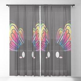 Rainbow Butterfly Block Sheer Curtain