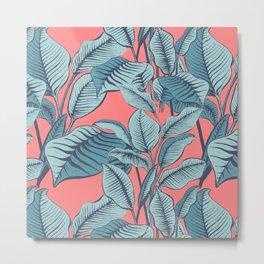 Pink Exotic Tropical Banana Palm Leaf Print Metal Print
