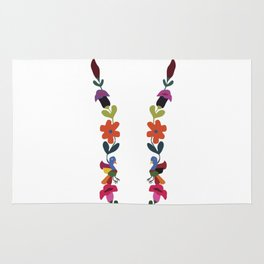 Multi Colored Daisy Tulip Flower Bird Pattern Rug