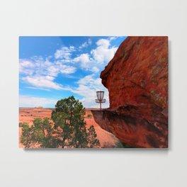 Disc Golf Basket in Moab Utah Metal Print