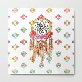 Boho Aztec Watercolor Native American Dreamcatcher Metal Print