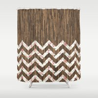 preppy Shower Curtains featuring Vintage Preppy Floral Chevron Pattern Brown Wood by Girly Road