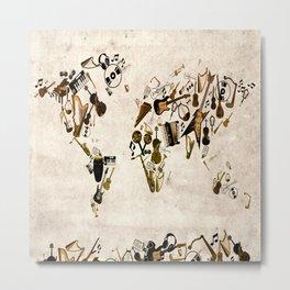 world map music Metal Print