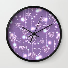 Bright openwork hearts on a lilac background. Wall Clock