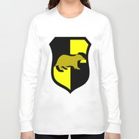 hufflepuff Long Sleeve T-shirts featuring Hufflepuff Crest by Electric Unicorn