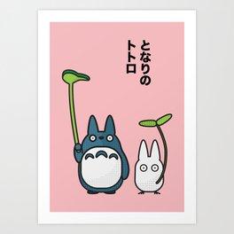 Chu & Chibi Totoro Pop art - Pink Version Art Print