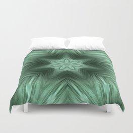 Green Star Flower Blossom Metallic Color #Pattern #Background Duvet Cover