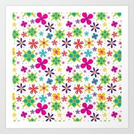 Bright Vector Flowers Floral Pattern Art Print