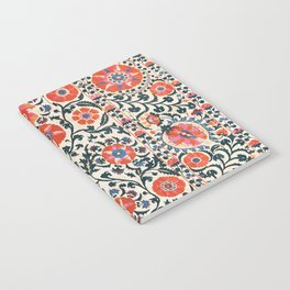 Shakhrisyabz Suzani  Uzbekistan Antique Floral Embroidery Print Notebook