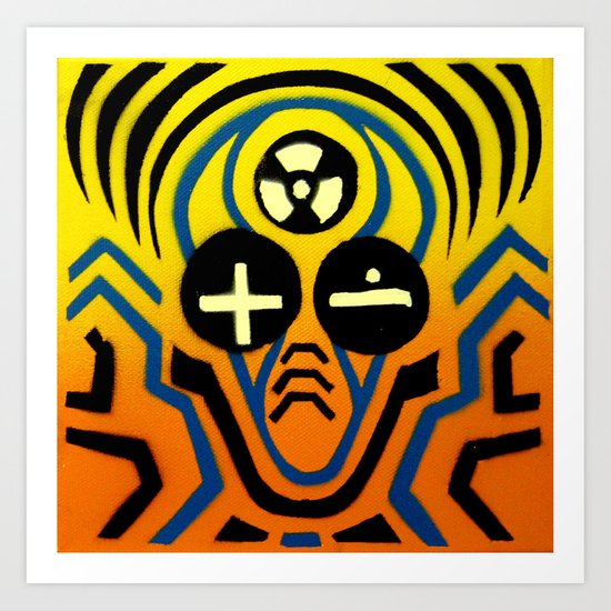 Atomic sound wave man Art Print