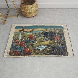 Japanese Art Print - Torajiro - Captured Russians Questioned after the Battle of Teh-li-sz (1904) Rug
