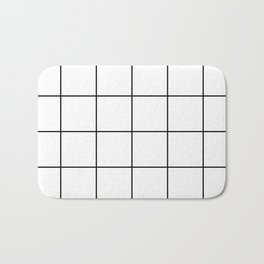 black grid on white background Bath Mat