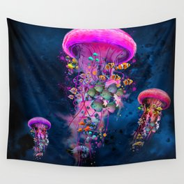 Floating Electric Jellyfish Worlds Wall Tapestry