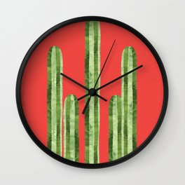 Watercolor of cacti on red background Wall Clock