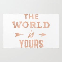 THE WORLD IS YOURS Rose Gold Pink on Black Rug