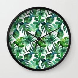 tropical leaves - medium Wall Clock