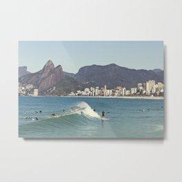 Surfing on Ipanema Beach Metal Print