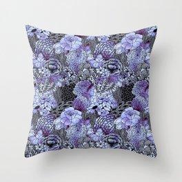 Indigo Bloom Throw Pillow