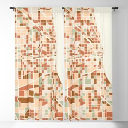 CHICAGO ILLINOIS CITY MAP EARTH TONES Blackout Curtain