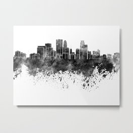 Minneapolis skyline in black watercolor on white background Metal Print