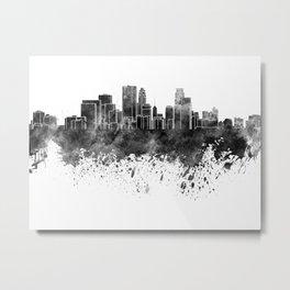 Minneapolis skyline in black watercolor on white background Metal Print