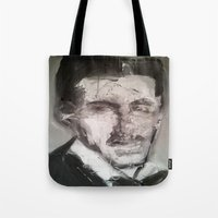 tesla Tote Bags featuring Tesla by Larry Caveney