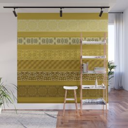 Yellow striped patchwork Wall Mural