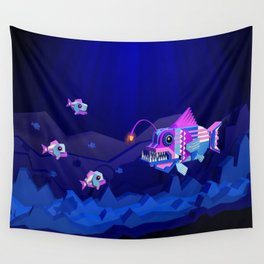 Anglerfish, lie and bioluminescence Wall Tapestry
