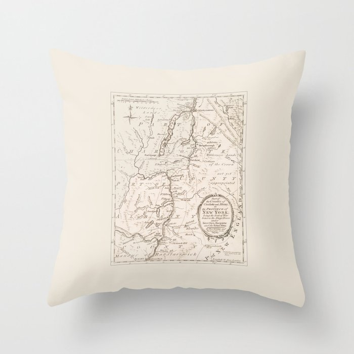 Vintage British Map of Lake George Area Throw Pillow
