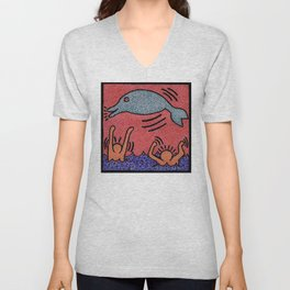 Keith Haring Dolphin Unisex V-Neck