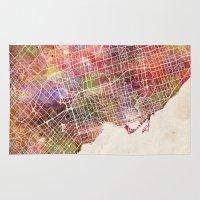 toronto Area & Throw Rugs featuring Toronto by MapMapMaps.Watercolors