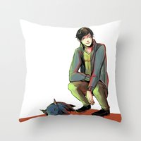 jem Throw Pillows featuring Jem and Church by The Radioactive Peach