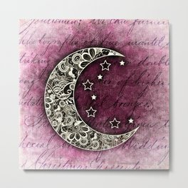 MOON & STARS CELESTIAL TAPESTRY COLLAGE Metal Print