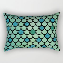 Mermaid Scales Design With Glitter Accents Background Rectangular Pillow