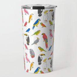 Tropical birds jungle animals parrots macaw toucan pattern Travel Mug