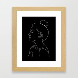 minimal line art - profile Framed Art Print