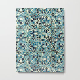 Moody Moroccan Blues Gilded Tile Patchwork Pattern Metal Print