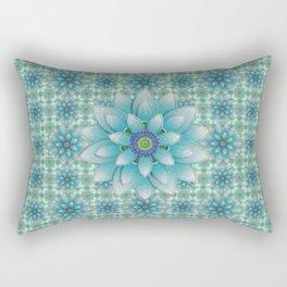Embroidered blue&green Rectangular Pillow