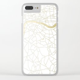 White on Yellow Gold London Street Map Clear iPhone Case
