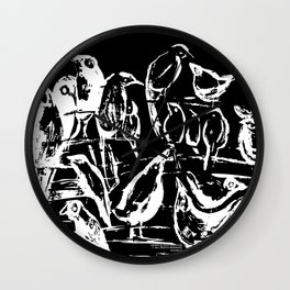 Birds black and white design, birds drawing, black and white illustration Wall Clock