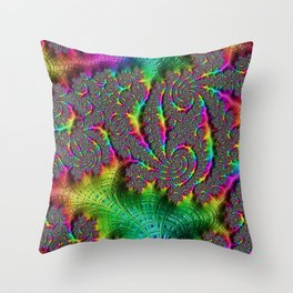 Funky Weaves Weaving Spiral Neon Rainbow Fractal Abstract Art Pattern Digital Graphic Design Throw Pillow